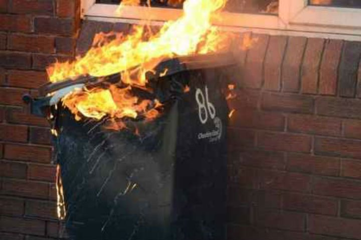 The flames coming from the bin in Cromwell Road Pic: Lancashire Fire and Rescue Service
