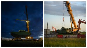 The tank is moved to its new position by crews at Flensburg Way
