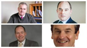 Leave campaign, left: James Barker and Adrian Owens, Remain campaign: Ben Wallace and Chris Davies