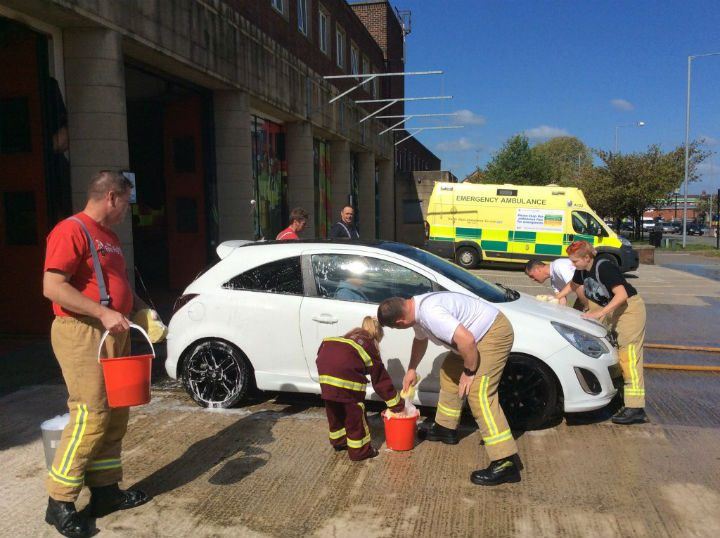 Lancashire Fire and Rescue Service crews get their sponges out Pic: Nick Ingham