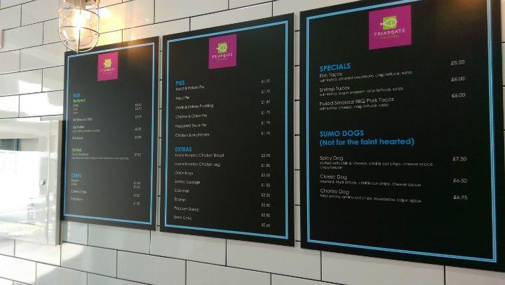 The menu at Friargate Fish and Chips