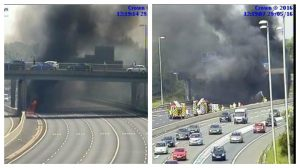 Traffic has been held while fire crews deal with the vehicle Pics: Highways England