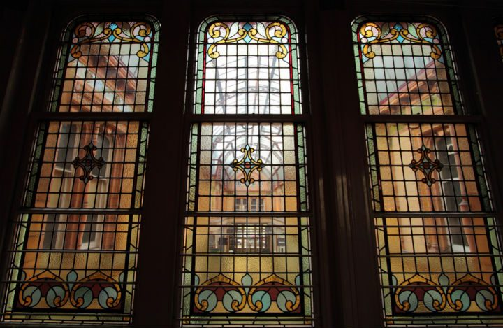 A stained glass window in the Miller Arcade