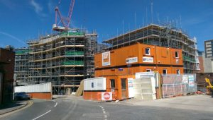 The scaffolding is due to come away soon on the first part of the Portergate scheme