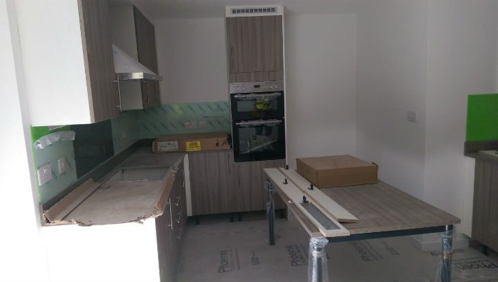 Inside one of the shared kitchens in one of the flats