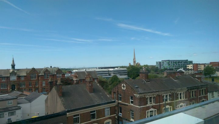 The view from one of the studio flats in the accommodation block