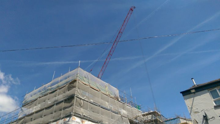 The crane reaching above the Friargate skyline