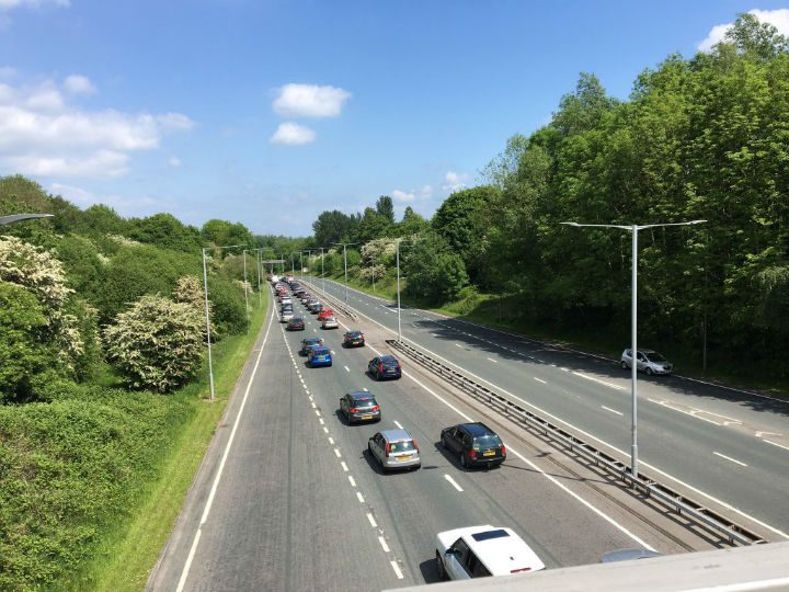 View of traffic backed up along Golden Way Pic: Paul Holmes