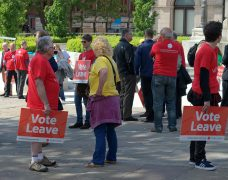 Vote Leave campaigners on the Flag Market in Preston during the campaign Pic: Tony Worrall