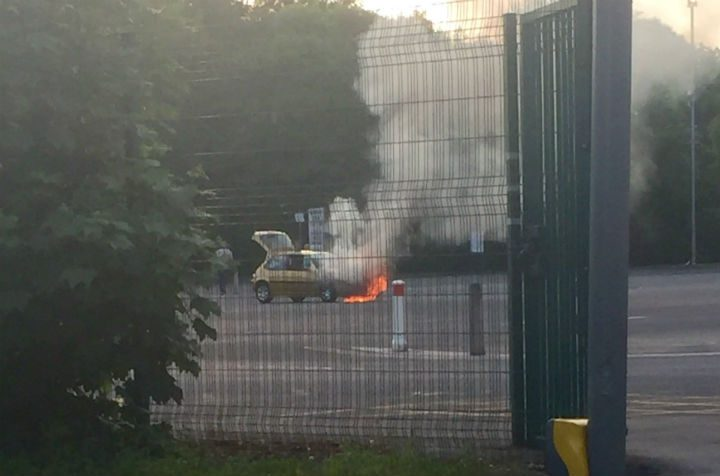 The car before the fire service arrived Pic: Lou Taylor