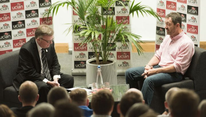 John Gillmore interviewing Chris Boardman