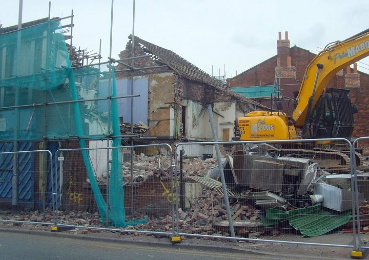 Demolition squad on site in Church Street Pic: Tony Worrall