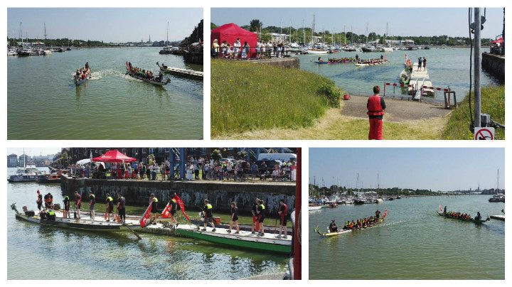 Dragon boats in action at Preston Docks