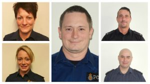 From left to right, clockwise: PC Louise Pointer, PC Darren Edwards, PC Lee Brown, PC Martin Cox and PC Helen Blackburn