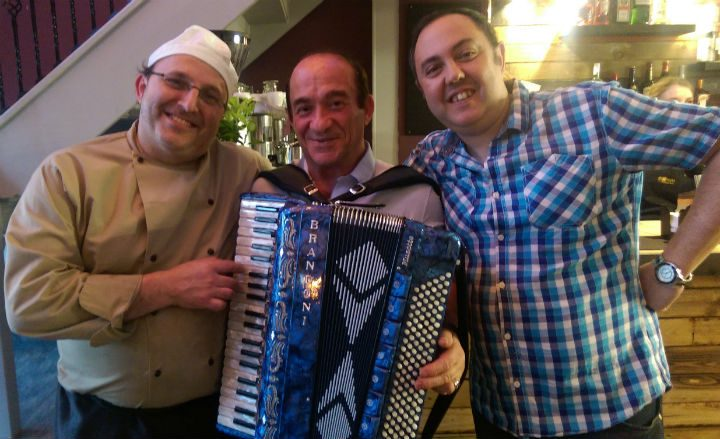 Vito, right, with his chef and entertainer