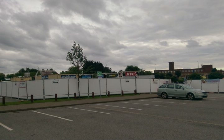 Hoardings up at Deepdale Shopping Park