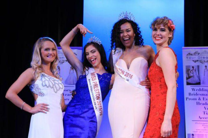 Elizabeth, second from right, winning Miss Preston