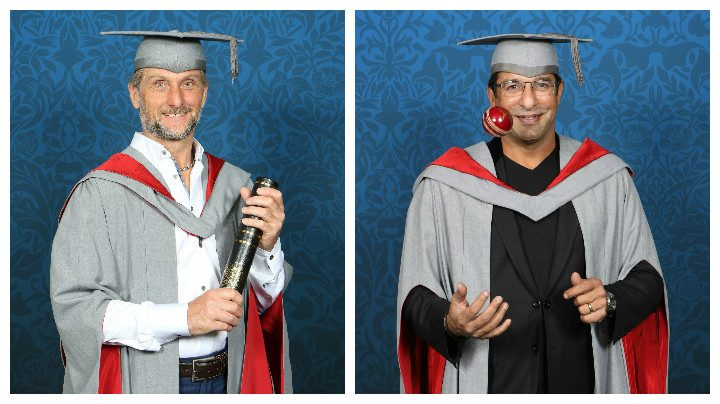 Carl Fogarty and Wasim Akram receiving their honorary degrees from UCLan