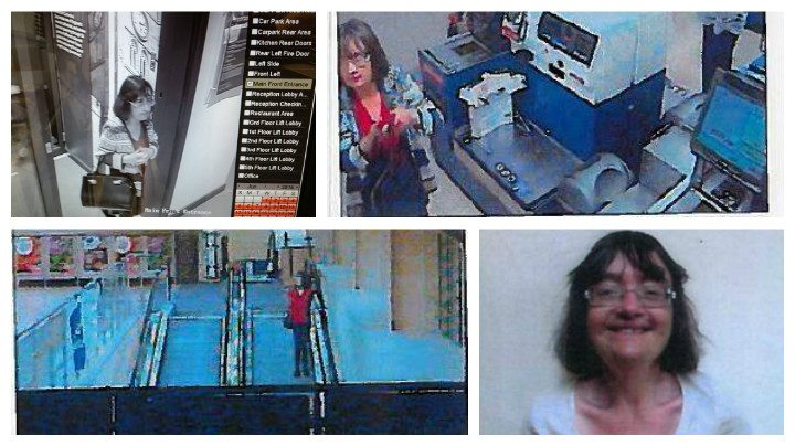 A CCTV image shows Jeanette leaving a hotel in Blackburn, and two others taken in a Tesco store in Haslingdon