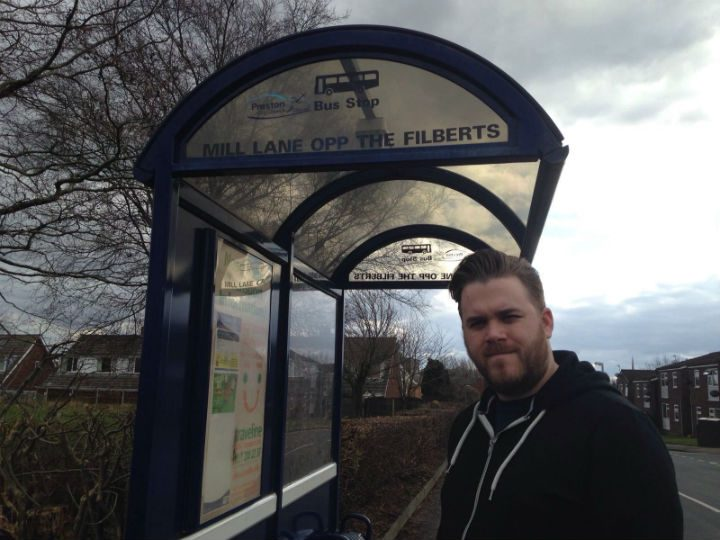 Councillor Potter at one of the bus stops for the 43 service