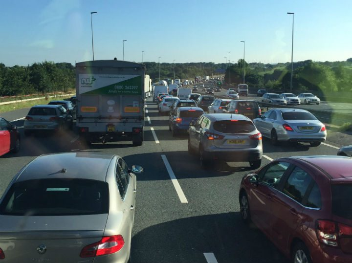 Delays are already forming on the M6 northbound Pic: Happydaysphotography