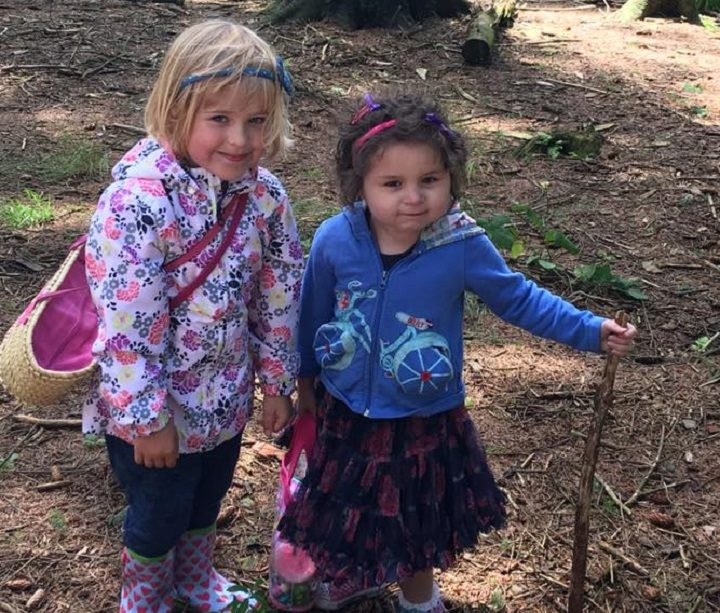 Pippa, right, out on an adventure in Beacon Fell with her friend Eve