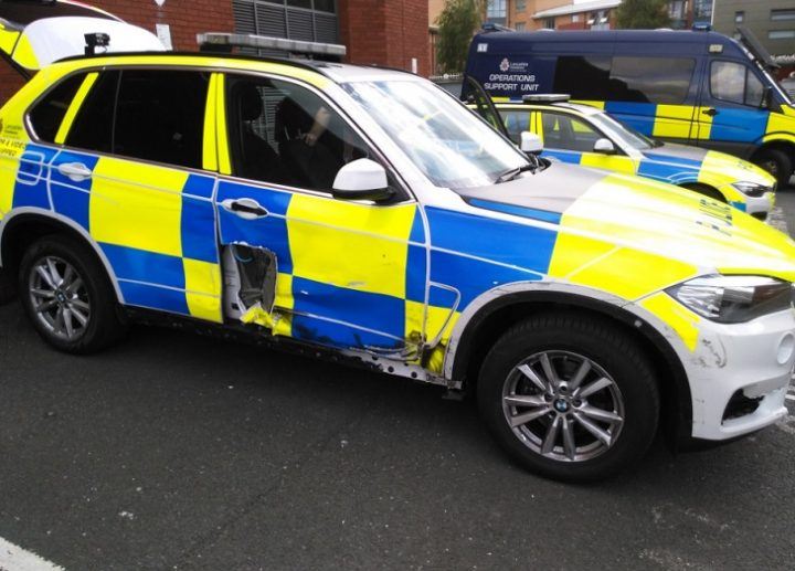 A police car was damaged in the chase