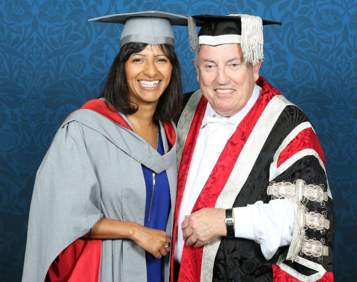 Incoming Chancellor Ranvir Singh with outgoing Chancellor Richard Evans
