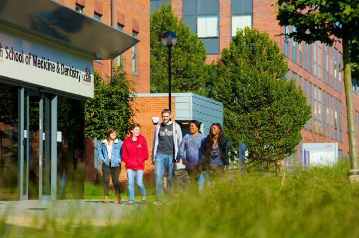 Students walking through the UCLan campus in Preston