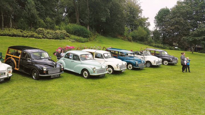 Classic cars parked up in the park at a previous event