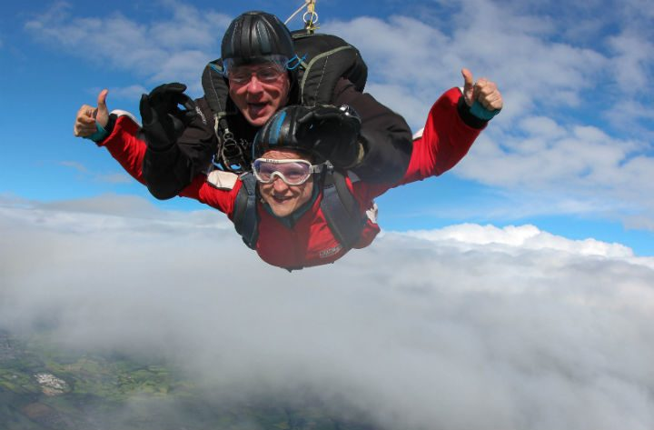 Fiona Whalley completing the skydive last year for the hospice
