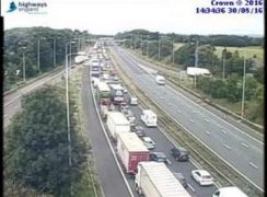 Queue captured on highway traffic cameras of the delays on the M6 Pic: Highways England