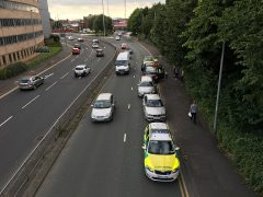 Three of the cars involved in the collision line one lane of the Ringway Pic: Benjamin Wareing