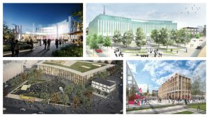 Four of the shortlisted designs for the Adelphi Square
