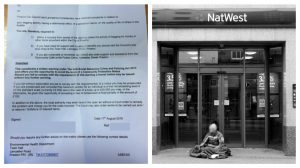 One of the warning letters and a homeless man on Preston's streets