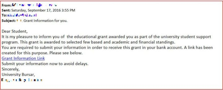 A copy of the email sent to students, claiming to be from a university finance department