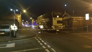 Police cordon in place near where the incident happened at the Queens Road junction