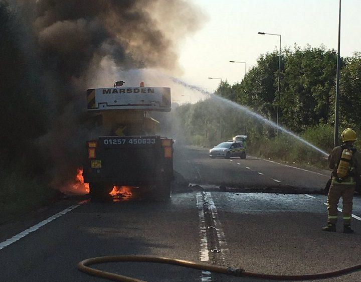The lorry fire near Preston Pic: Lancashire Fire and Rescue Service
