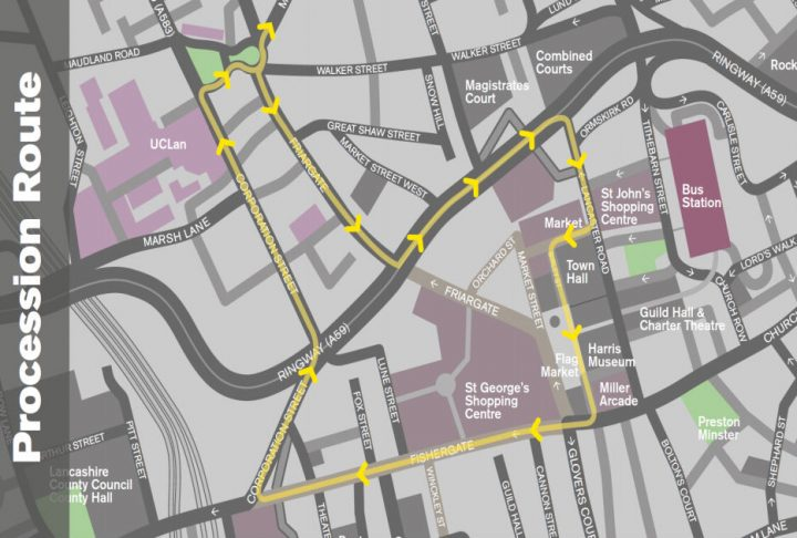 A map of the procession route