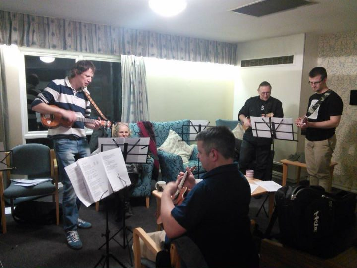 Preston Ukulele Strumming Society entertaining residents at New Brook House sheltered housing scheme in March 2016