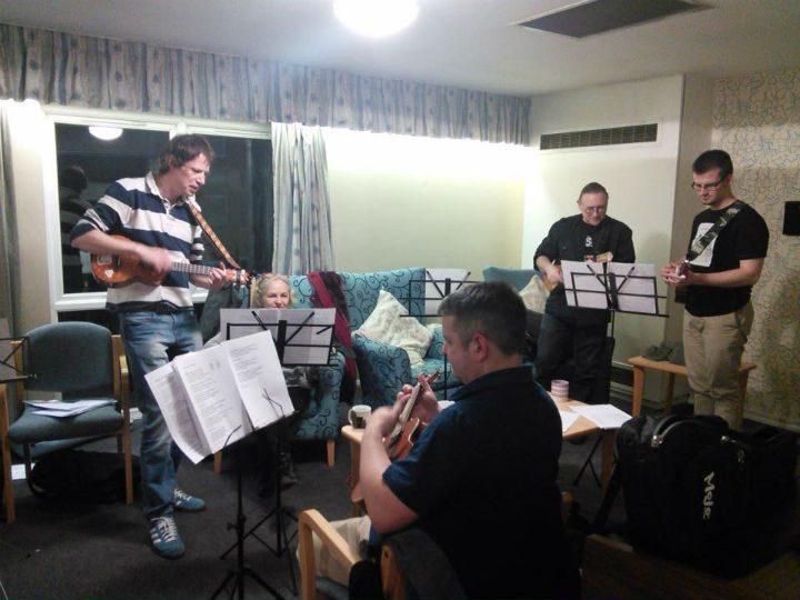 Preston Ukulele Strumming Society entertaining residents at New Brook House sheltered housing scheme in March 2016