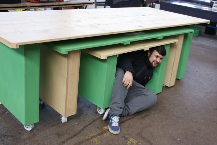 One of the students, Aaron Flanagan, gets up close and personal with the new stalls