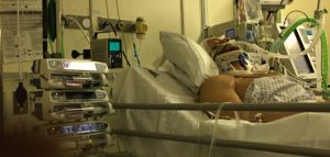 Ben Pennington pictured in intensive care by his father