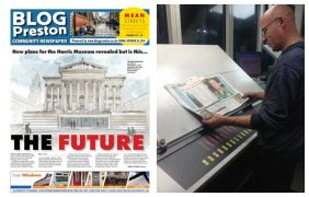 The first issue of Blog Preston, in print, and it coming off the press at the printers