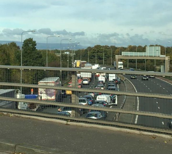 Queues on the M61 northbound where it joins the M6 Pic: Sharon Shepherd