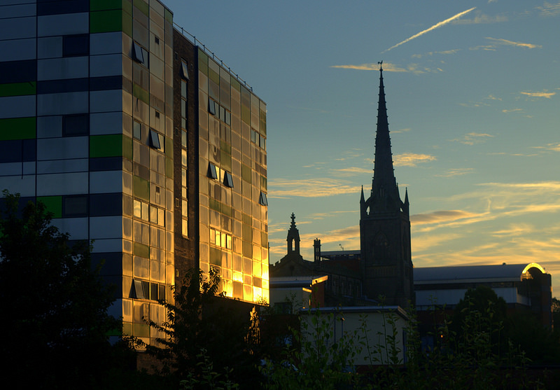 UCLan's Media Factory reflects the sunrise in Preston Pic: Tony Worrall