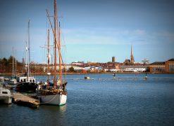 Preston Marina with city skyline behind Pic: Tony Worrall