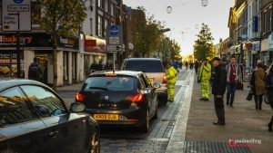 Highways workers in hi-vis jackets direct traffic in Fishergate Pic: Paul Melling