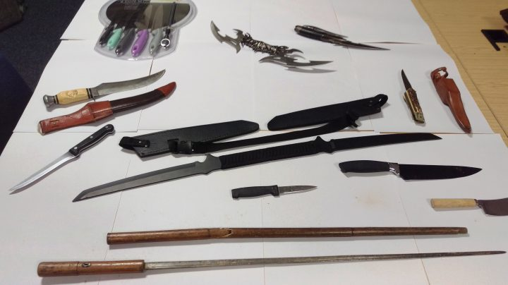 Knives handed in during a knife amnesty in 2016