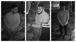 Three men, pictured, are wanted by police in connection with the incident